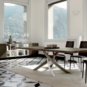 Alto Fixed Dining Table with Wood Top