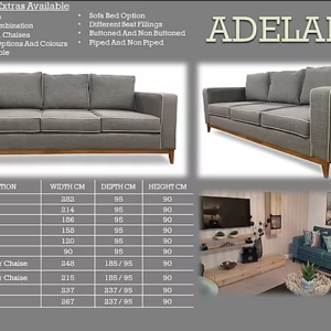 Adele 3 Seater Sofa with Chaise