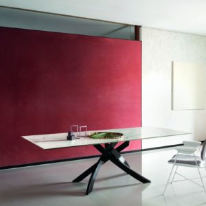Alto 2m Fixed Dining Table with Marble Effect Top